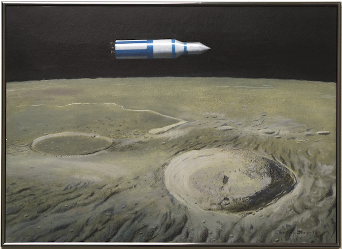 Bonestell-Original-Painting-Space-Vehicle-Over-Aristarchus-1